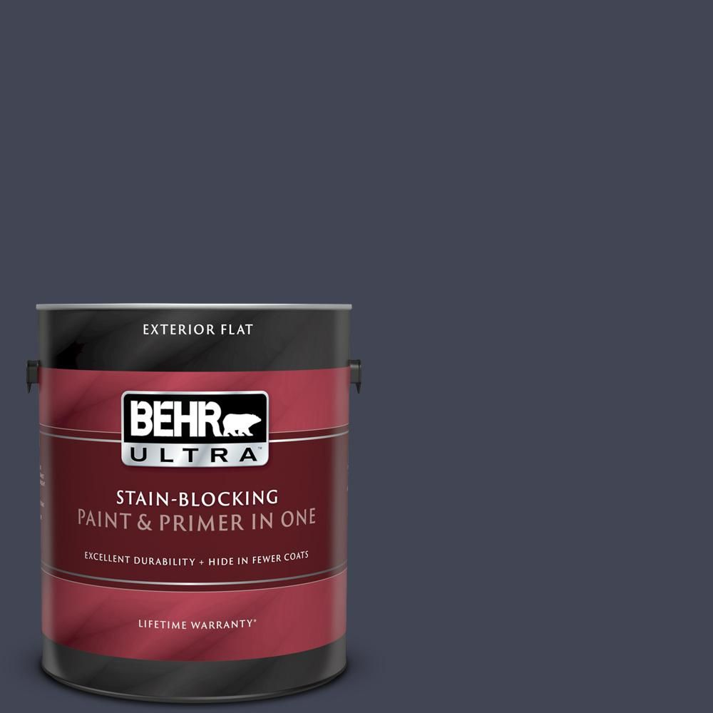 Behr Ultra 8 Oz Ul240 1 Black Sapphire Matte Interior Exterior Paint And Primer In One Sample Exterior Paint Paint Primer Exterior