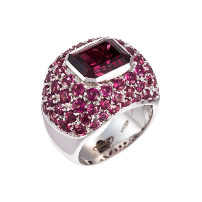Salavetti 18K White Gold Pink Tourmaline Ring With Pink Sapphires (=)