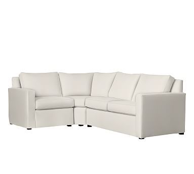 Cameron Square Arm Slipcovered Right Arm 3-Piece Wedge Sectional, Polyester Wrapped Cushions, Denim Warm White