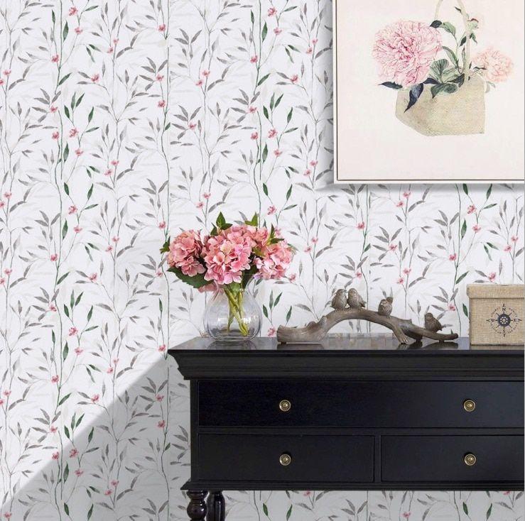 New Pastoral Wallpaper Self Adhesive Dormitory Bedroom Girl S Refreshing Pvc Wallpaper In 45cm 10m Water Wall Wallpaper Leaf Wallpaper Peel And Stick Wallpaper