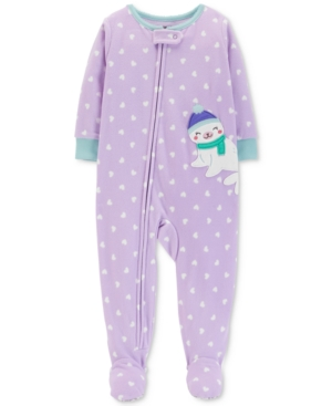 eead66fdcad0 Carter s Baby Girls Heart-Print Seal Footed Pajamas - Purple 24 ...