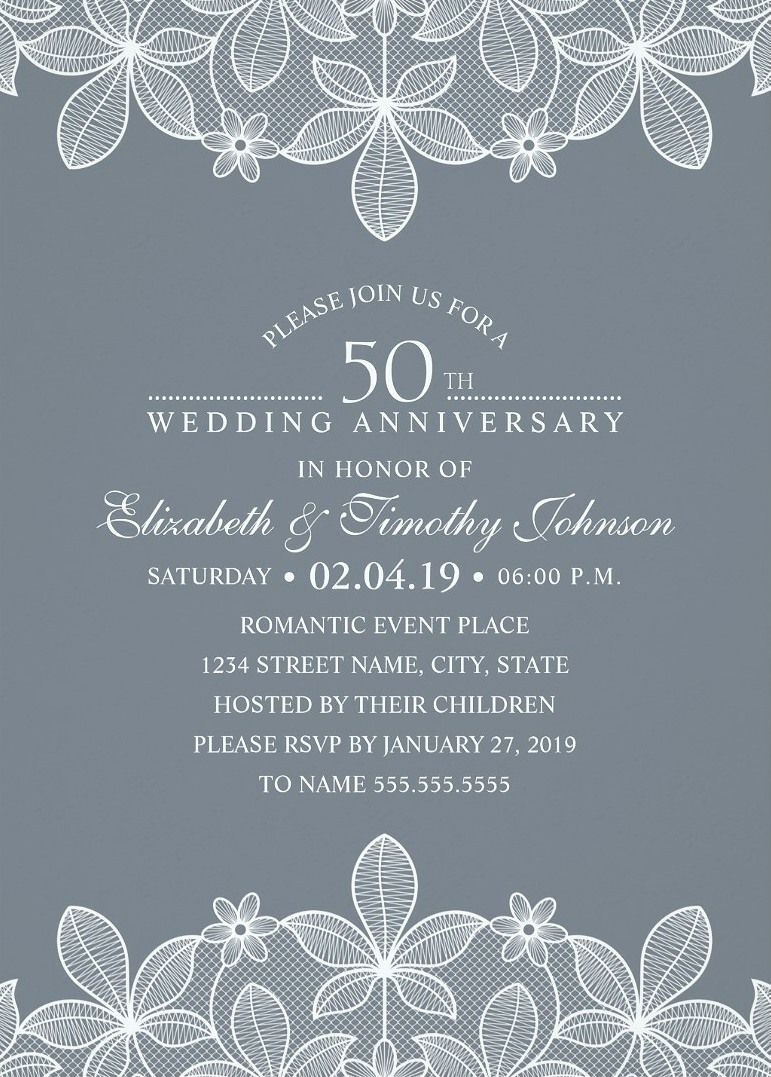 luxury lace 50th wedding anniversary invitations