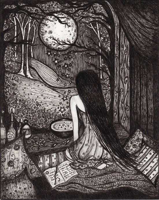 Art Print Witchy Inktober Illustration of Moon Water Original painting