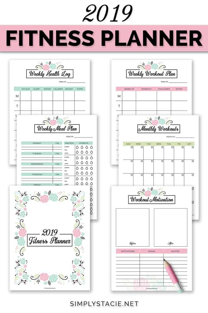 2019 Fitness Planner Free Printable -   16 fitness Journal printable ideas