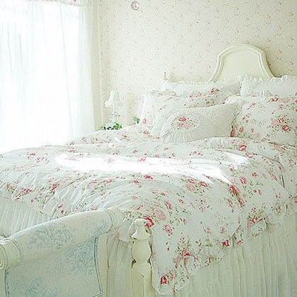 White Romance Bedding Set Shabby Chic Bedding Cottage Bedding