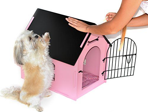Royal Craft Wood Dog House Crate Indoor Kennel For Small Dogs Pet Home With Door And Bed Mat Pink Wood Dog House Dog Crate Crates