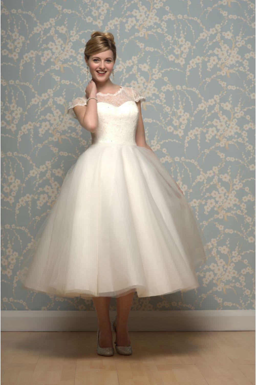White Rose LILYANNA Calf Length 1950s Inspired Short Wedding Dress ...