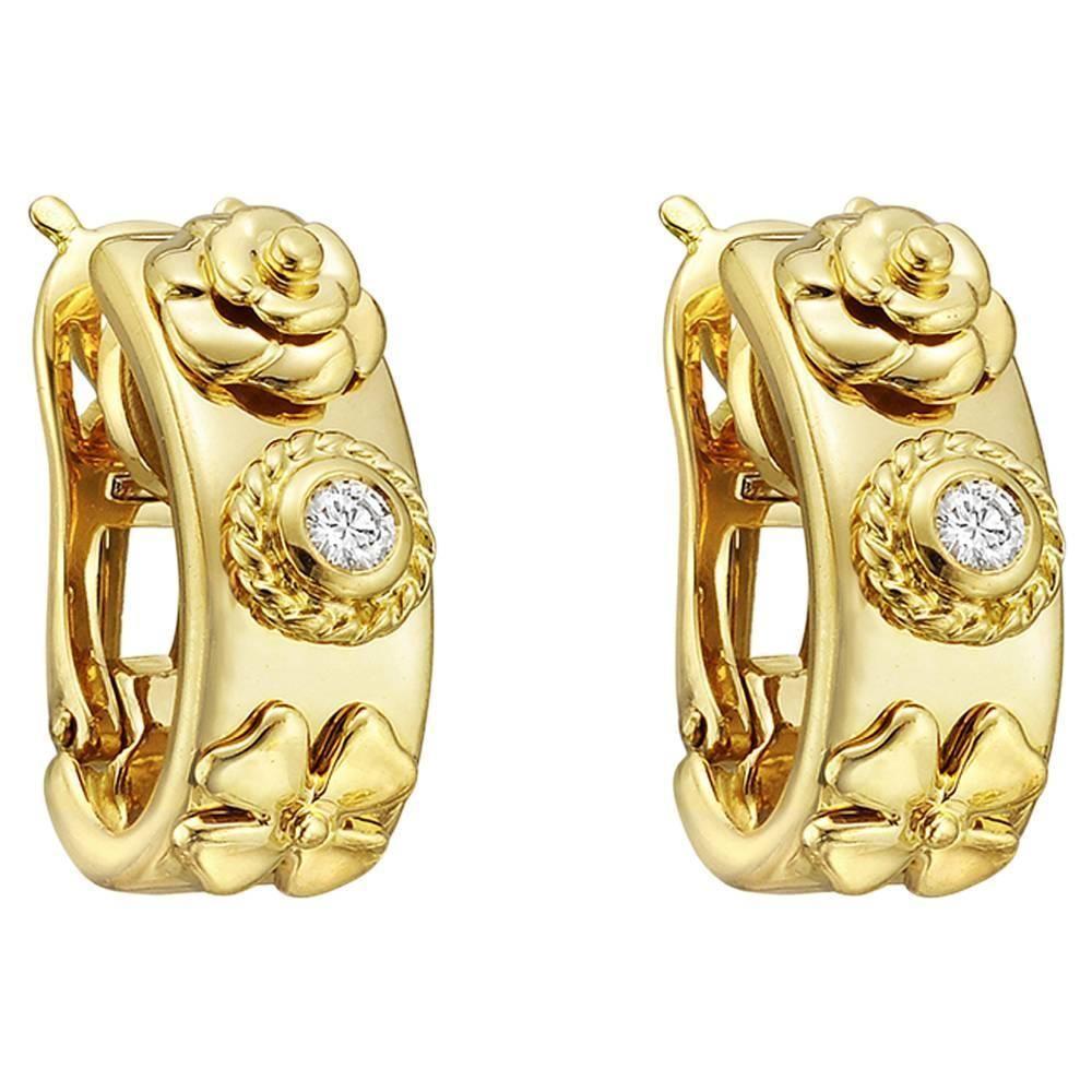 Chanel diamond gold floral hoop earrings floral hoops hoop