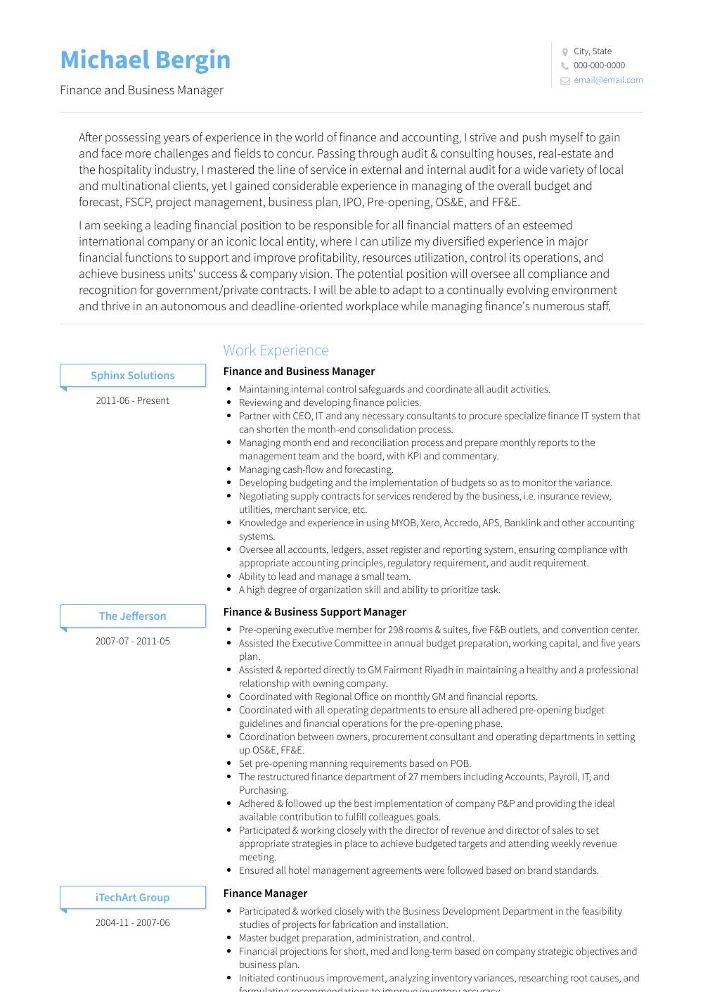 Finance Resume Samples & Templates VisualCV Finance