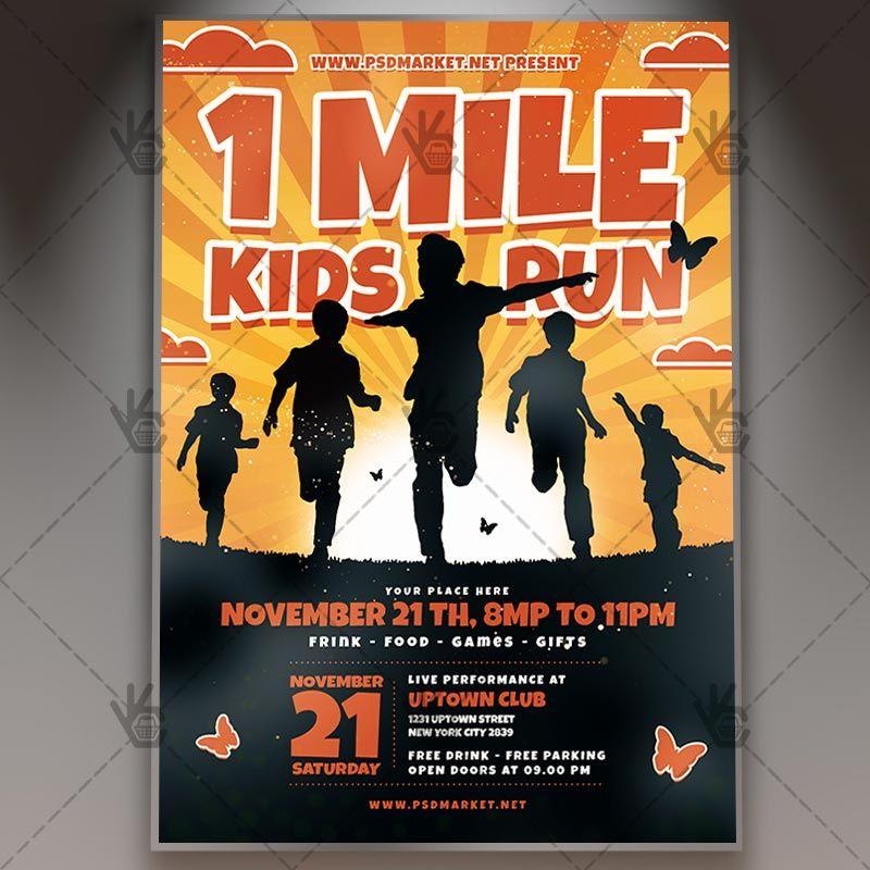 1 Mile Kids Run Sport Flyer Psd Template 5k Athletic Fun