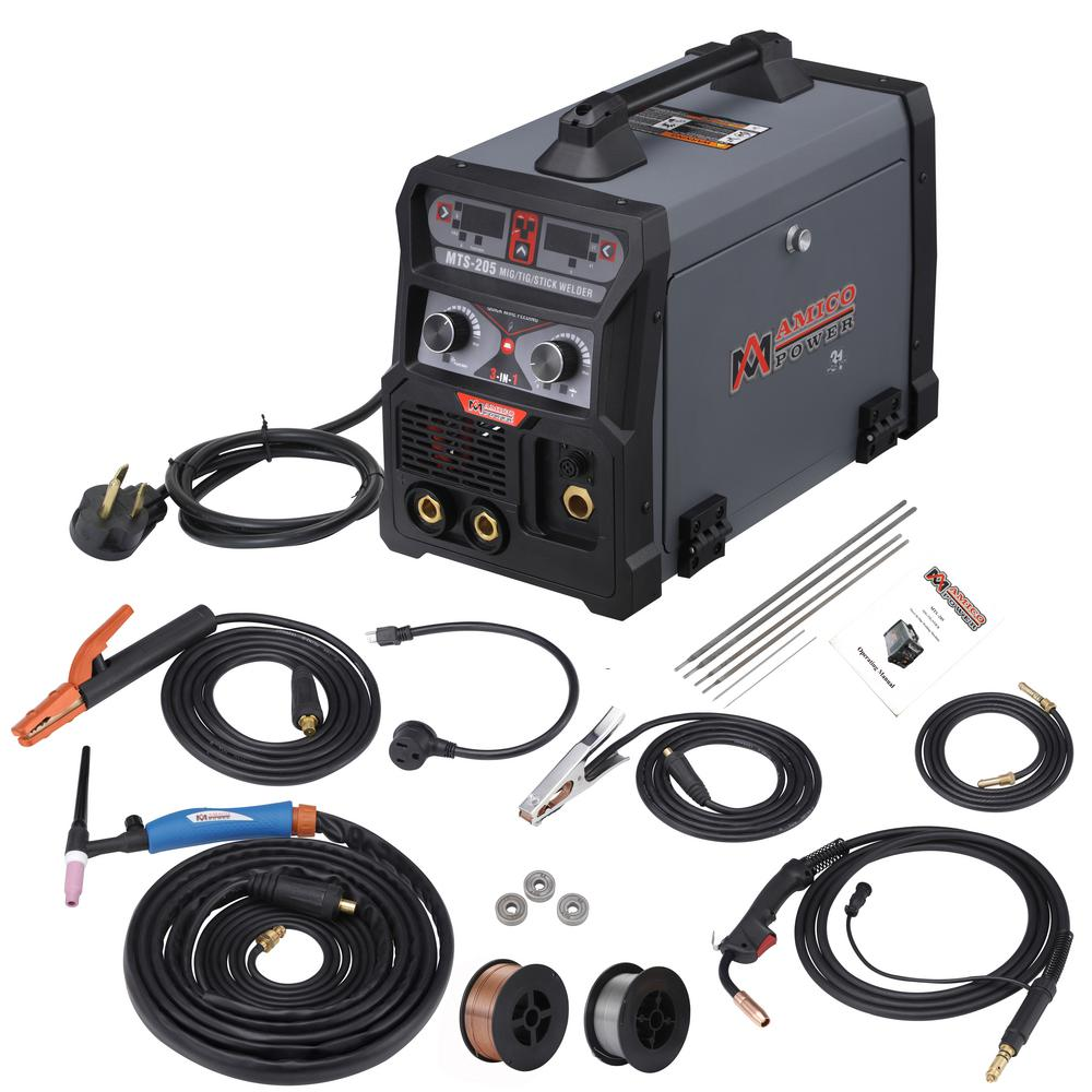 Amico Power 205 Amp Mig Wire Feed Flux Core Tig Torch Stick Arc Welder Weld Aluminum With 2t 4t 110 Volt 230 Volt Welding Mts 205 The Home Depot Arc Welders Tig Torch Shielded Metal Arc Welding