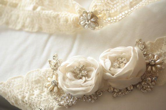 Wedding Garter Set with silk flower  Product Code by MillieICARO, $89.00