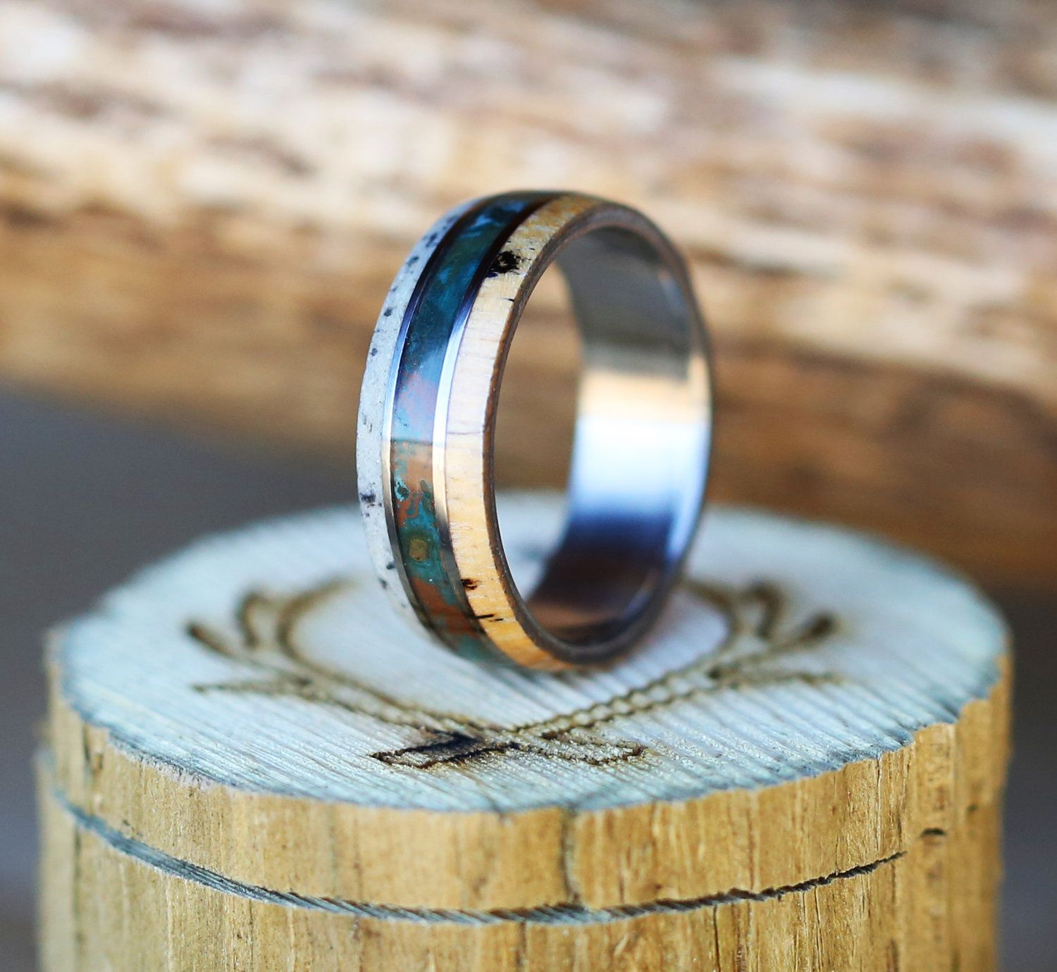 men band mens koa guitar s wedding inlay ring engagement rings string products naturally elk and shed antler wood