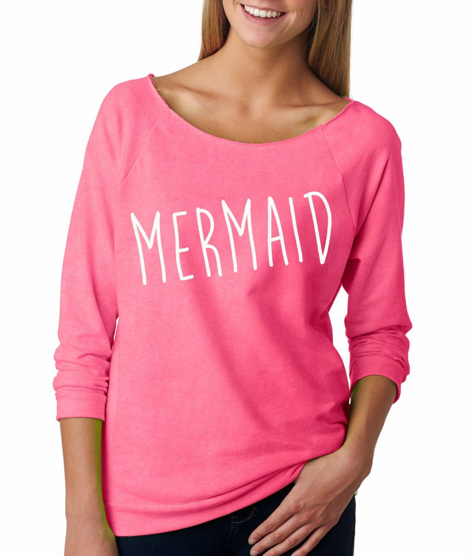 Mermaid Swetashirt. Women's workout sweatshirt with raw edge off the shoulder neck. Gym sweatshirt. gym long sleeve shirt. Workout sweater by strongconfidentYOU on Etsy https://www.etsy.com/listing/206702454/mermaid-swetashirt-womens-workout