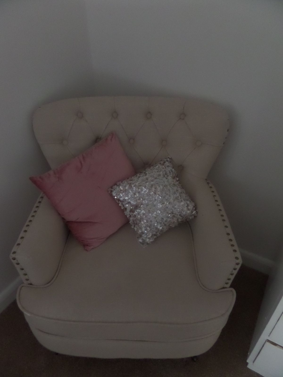 Main bedroom. Chairs from Dunelm Mill with sequin and velvet
