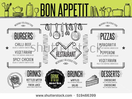Placemat menu restaurant food brochure, cafe template design - food brochure