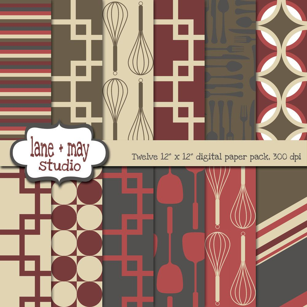 digital scrapbook papers - red, gray, green and khaki kitchen ...