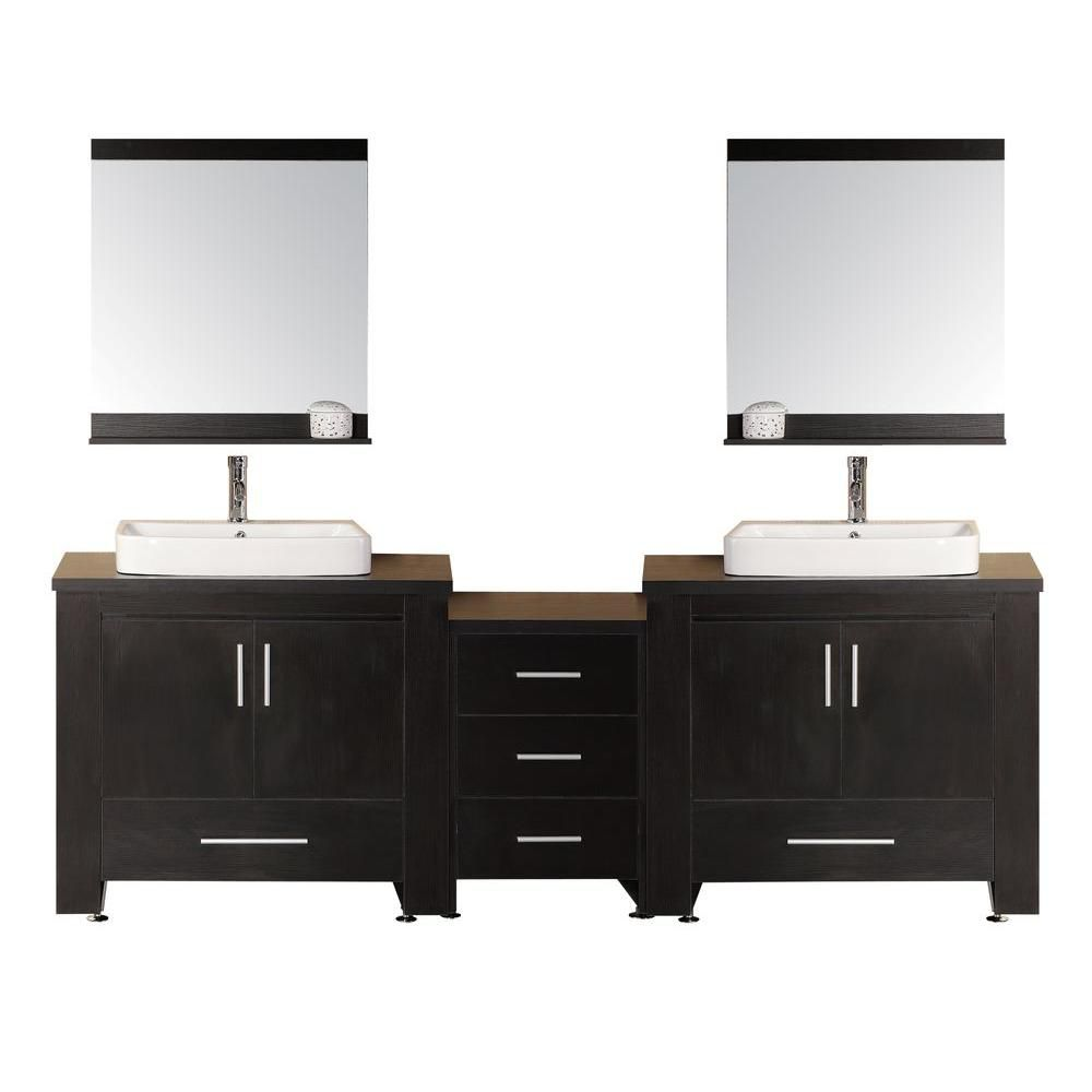 Washington 96 Inch Double Vanity In Espresso With Matching Mirror