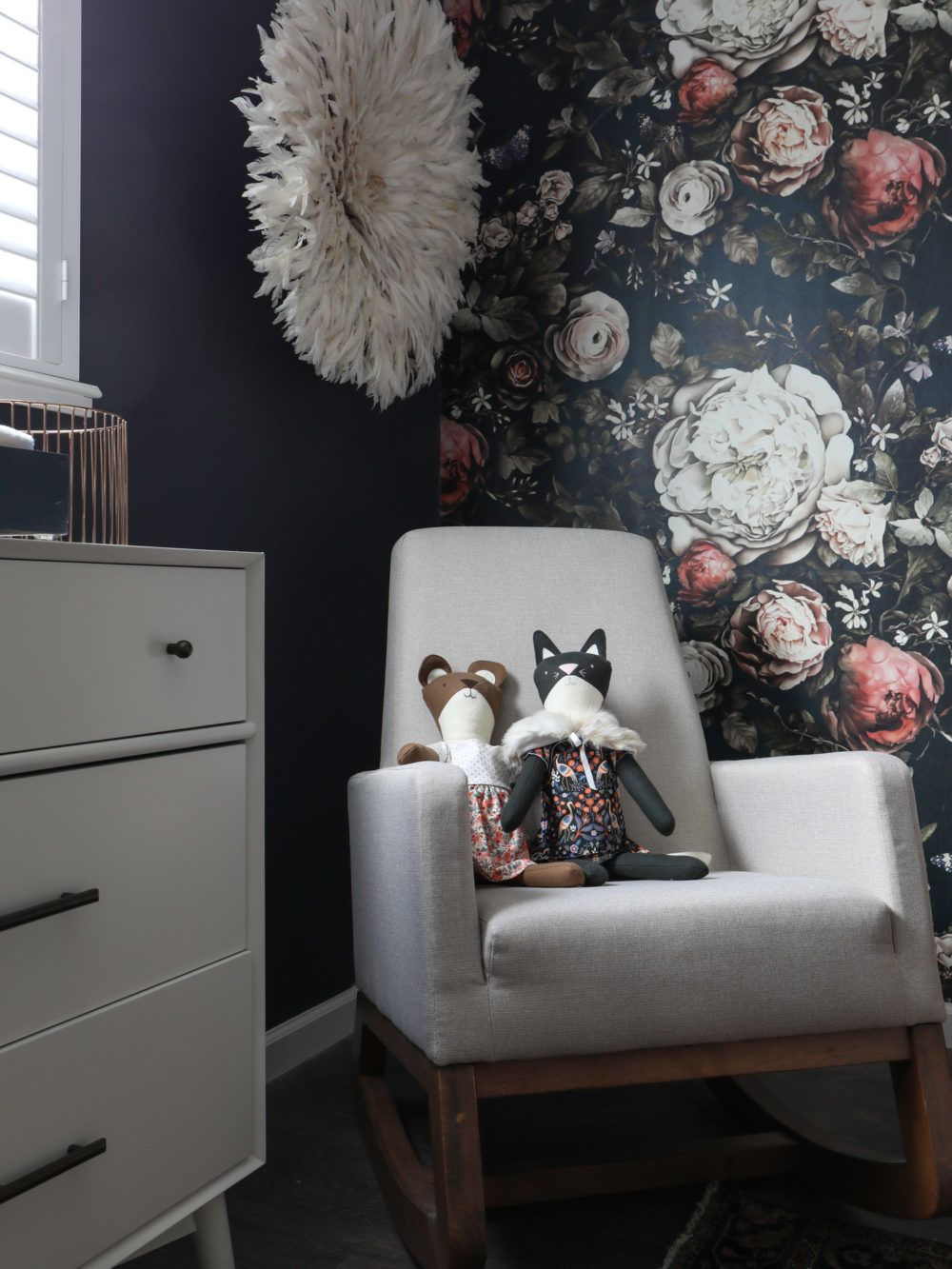Moody navy floral girls nursery brittanyMakes Moody