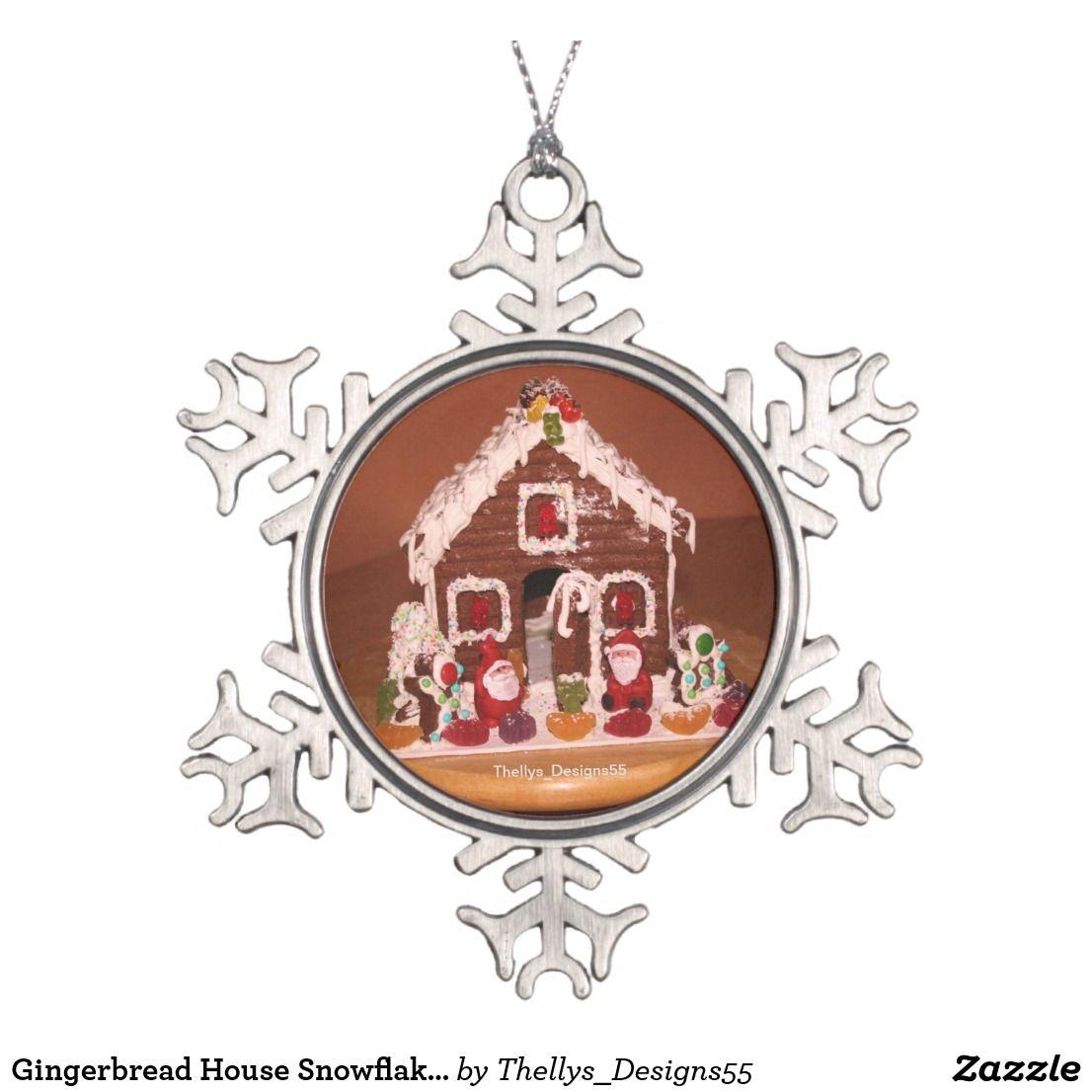 Lebkuchen Haus Schneeflocke Verzierung Schneeflocken Zinn Ornament