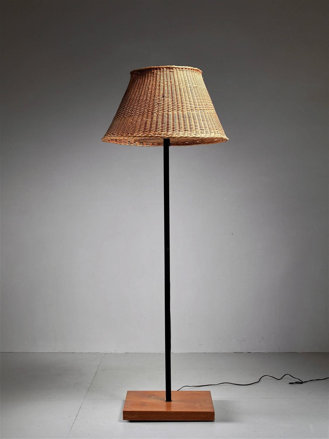 Jean Touret Iron And Wicker Floor Lamp For Marolles France 1950s