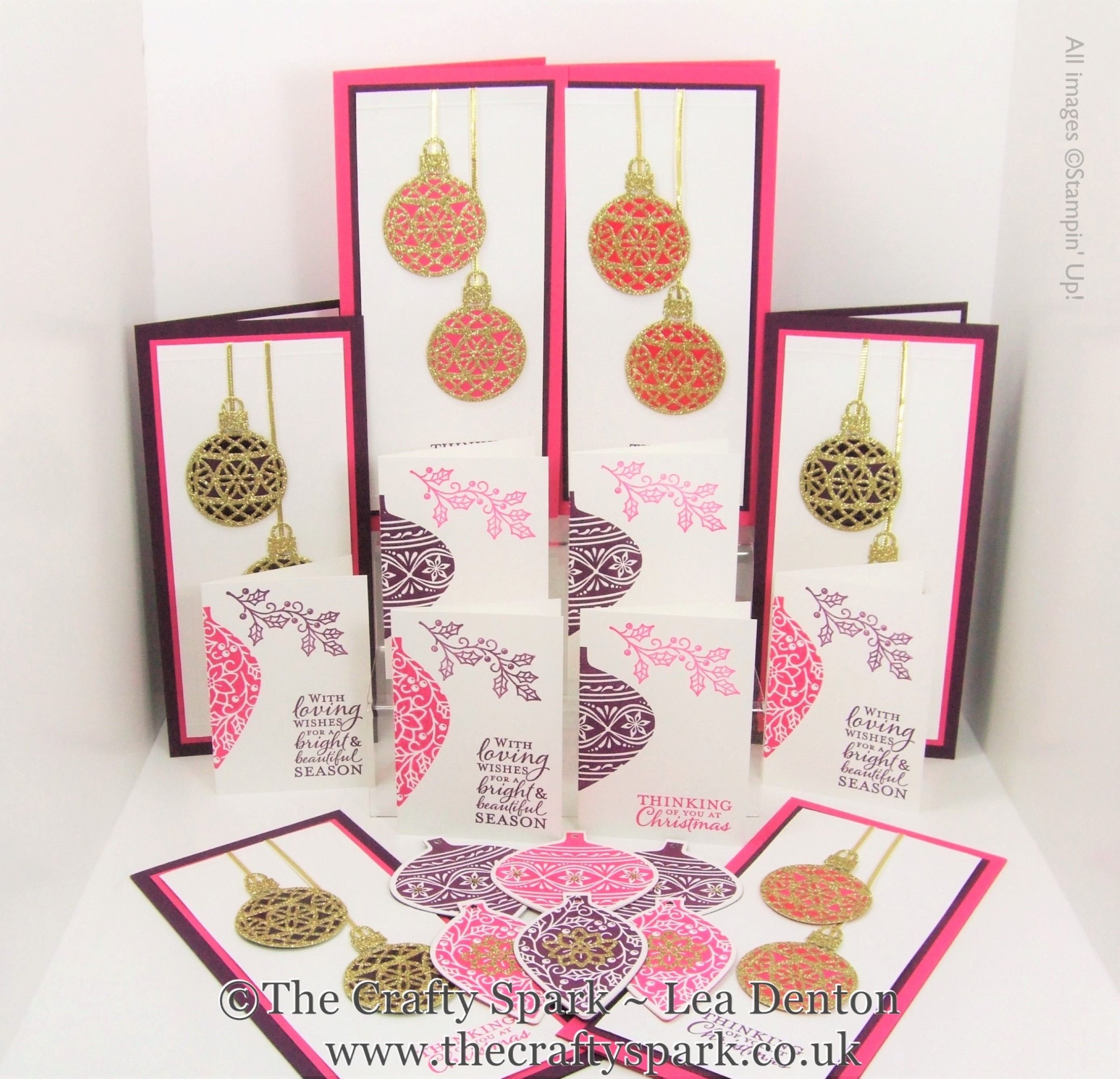Embellished Ornaments Christmas Cards and Tags Gift Set Stampin Up UK Melon Mambo and Blackberry Bliss by Lea Denton, The Crafty Spark