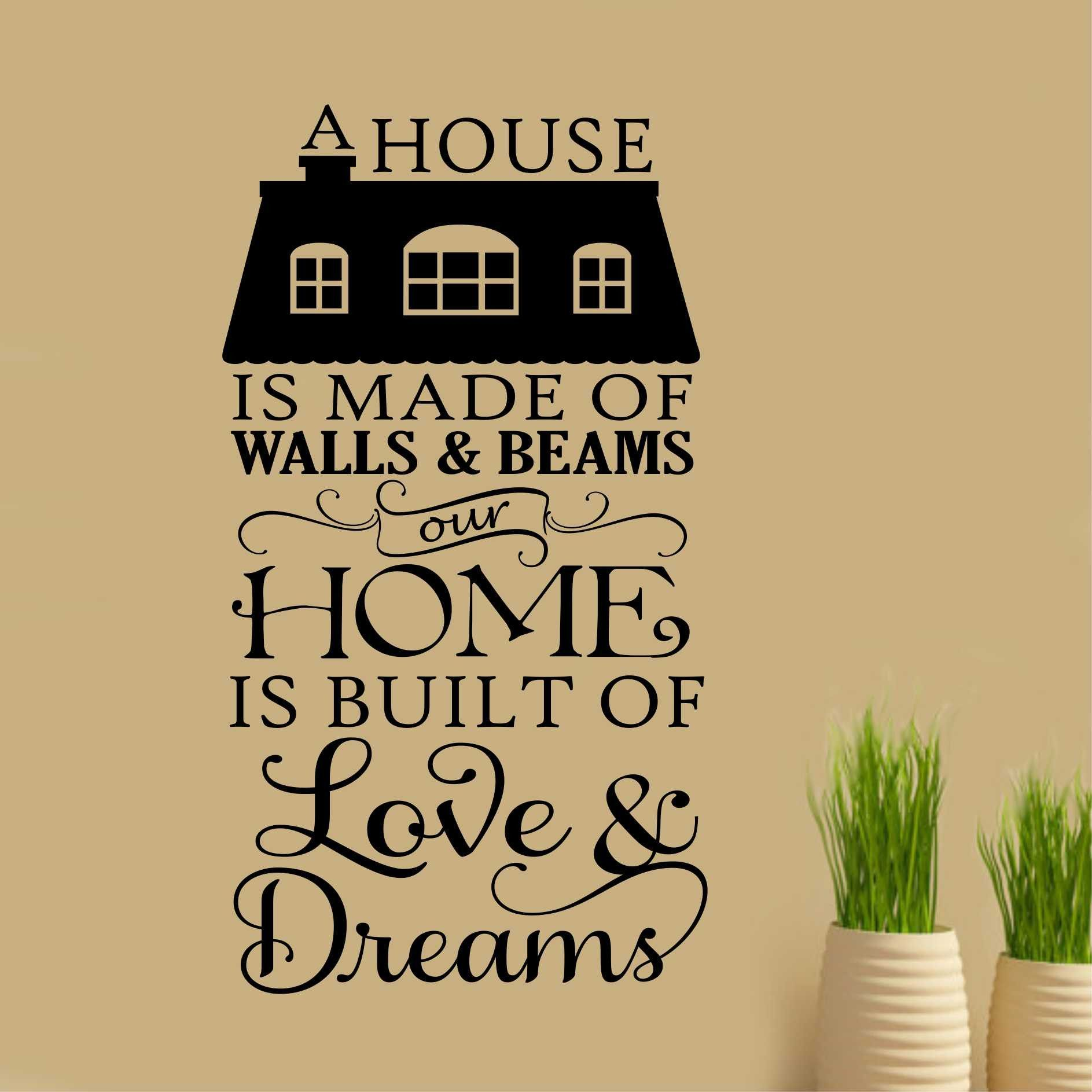 Home Built of Love Decal | Vinyl Wall Lettering | Wall Quotes ...