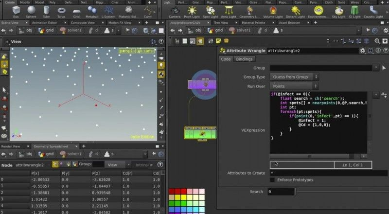 Houdini - Infecting points using VEX & the solver SOP