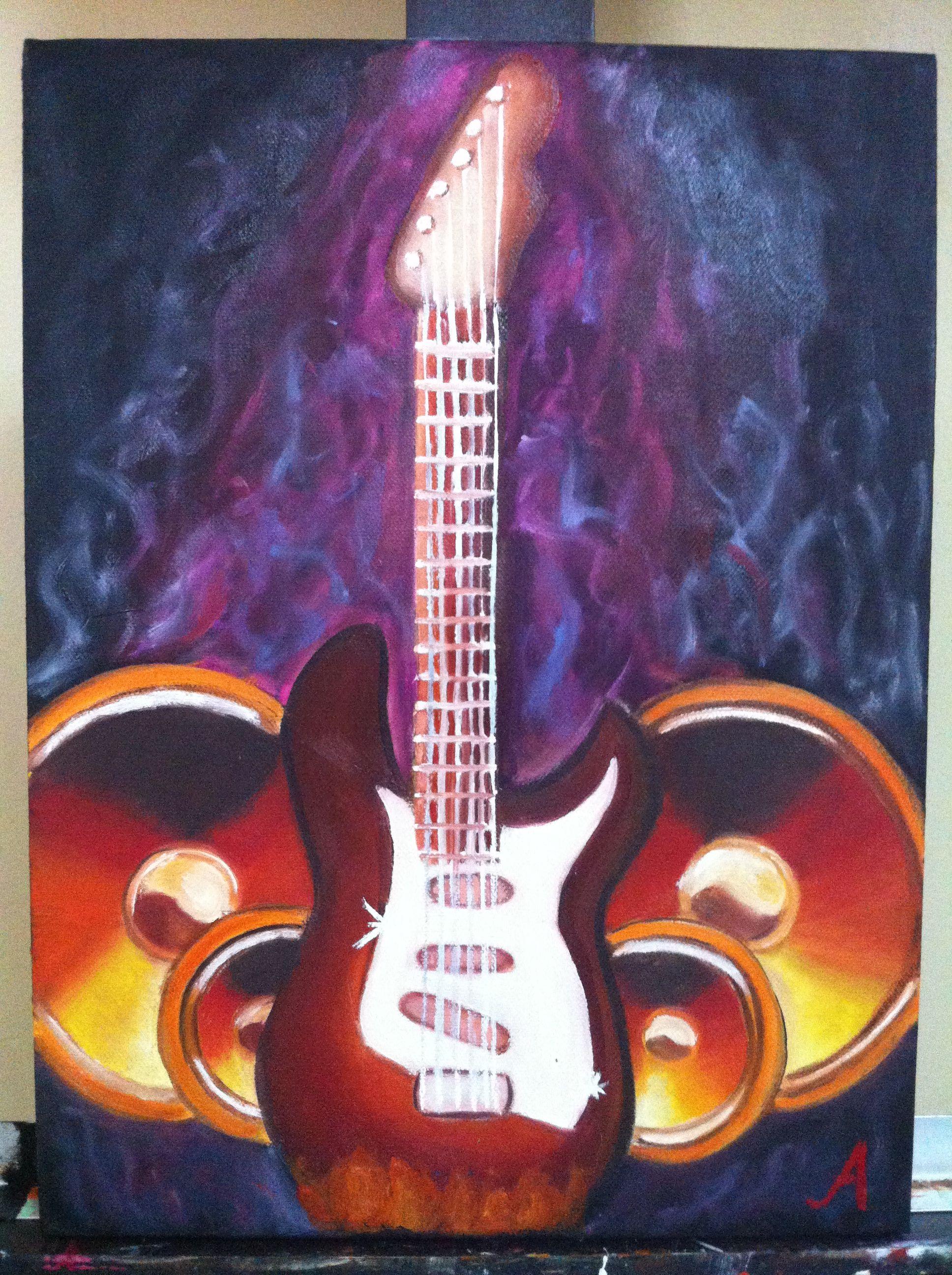 guitarra el ctrica 2013 pintura al leo alumno alejandro