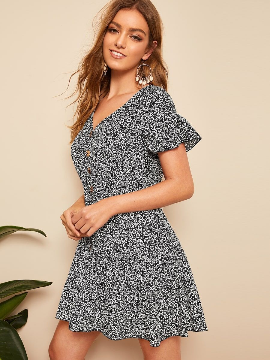 df5c15ed41 Ruffle Hem Button Up Floral Dress in 2019 | shopping | Dresses ...