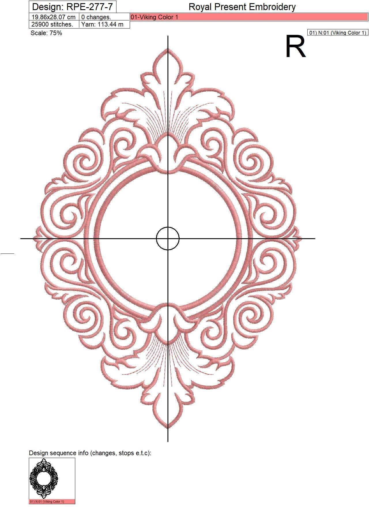 Machine embroidery design line art baroque monogram blank