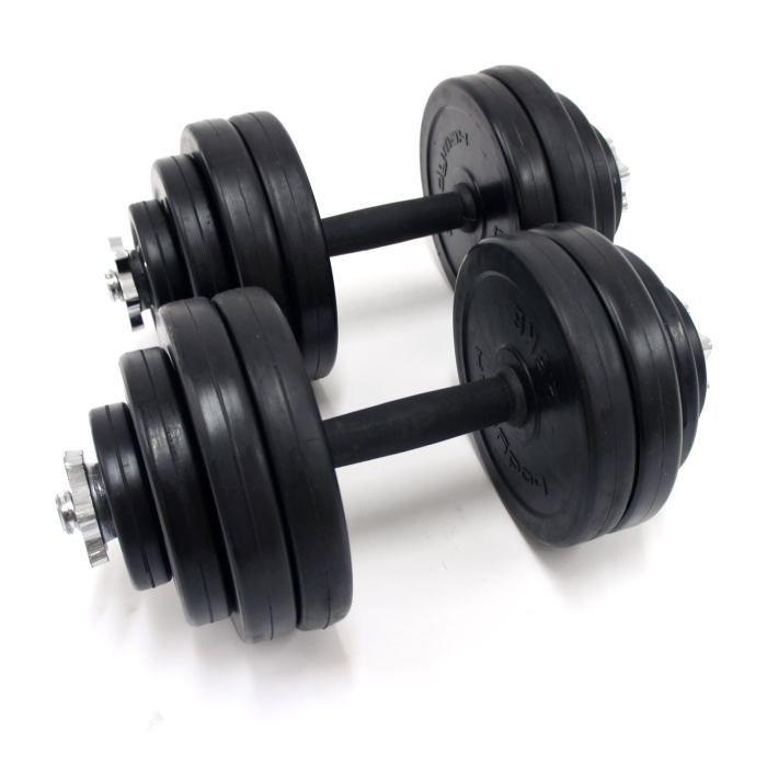 Dumbbell Set 30kg Adjustable Free Weights Bar Spinlock Vinyl Fitness Dumbells