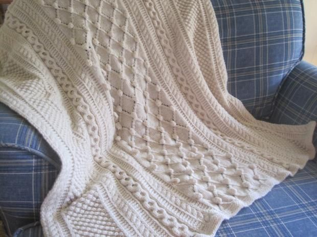 Diamonds And Bobbles Afghan Pattern Cable Knitting