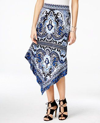 a2e1d571a INC International Concepts Printed Asymmetrical Maxi Skirt, Only at Macy's  - INC International Concepts - Women - Macy's