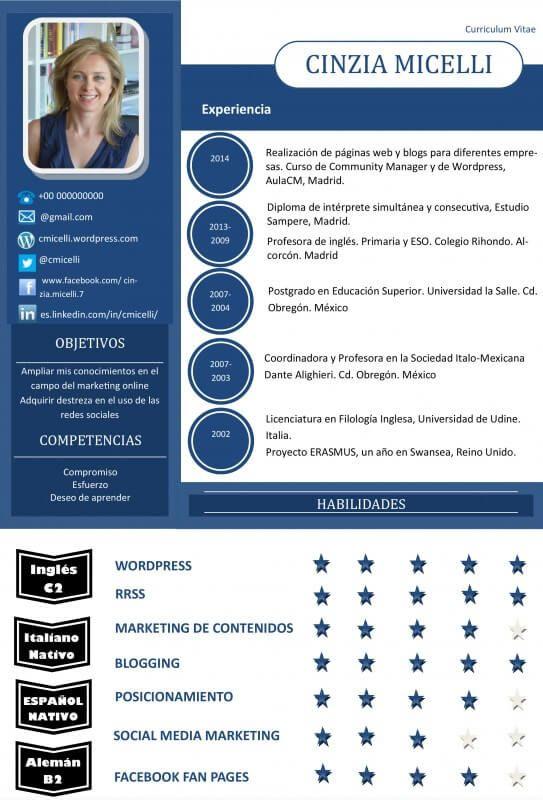 Curriculum Cinzia Minelli | Curriculum | Pinterest | El mejor ...