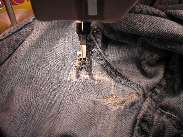 Essential blue jean mending method--Tutorial!