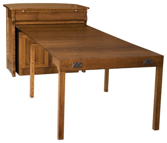 Buffet With Pullout Table Frontier Island Traditional Dining Tables Other Metro Amish Furniture Factory