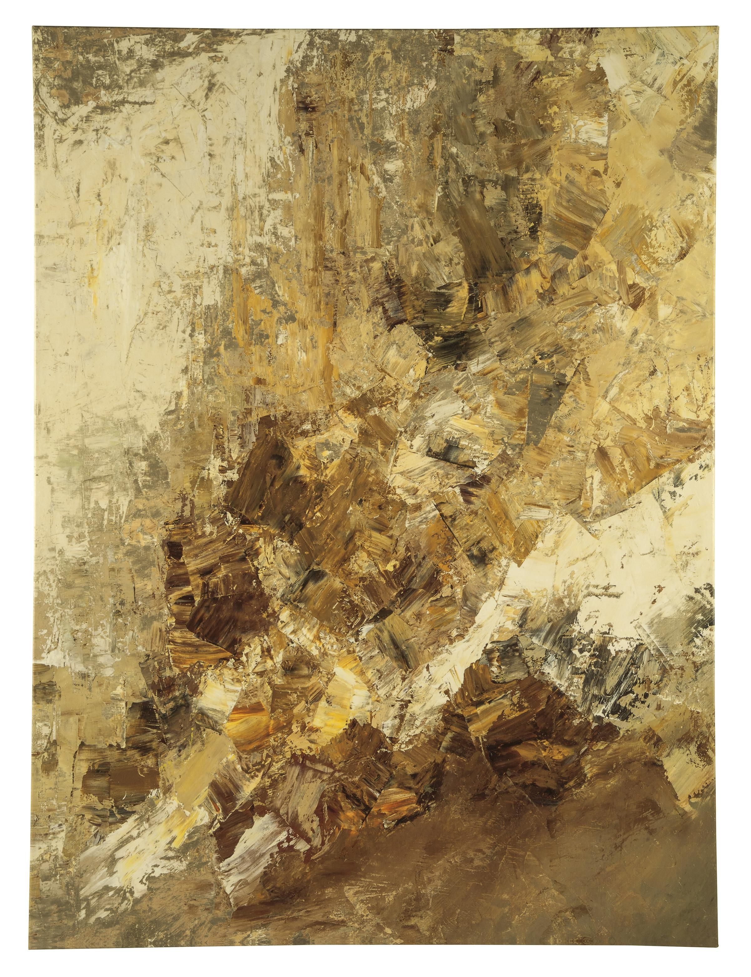 Abstract gallery wrapped canvas wall art with hand texture. Golds ...