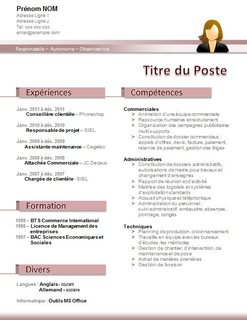 cv assistante formation administrative