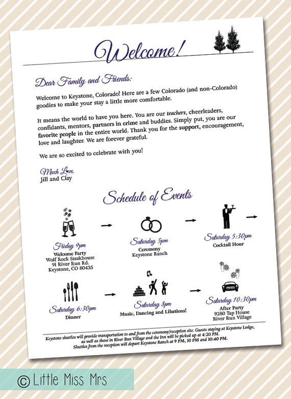 Printable Wedding Welcome Letter - Timeline Of Events - Weekend