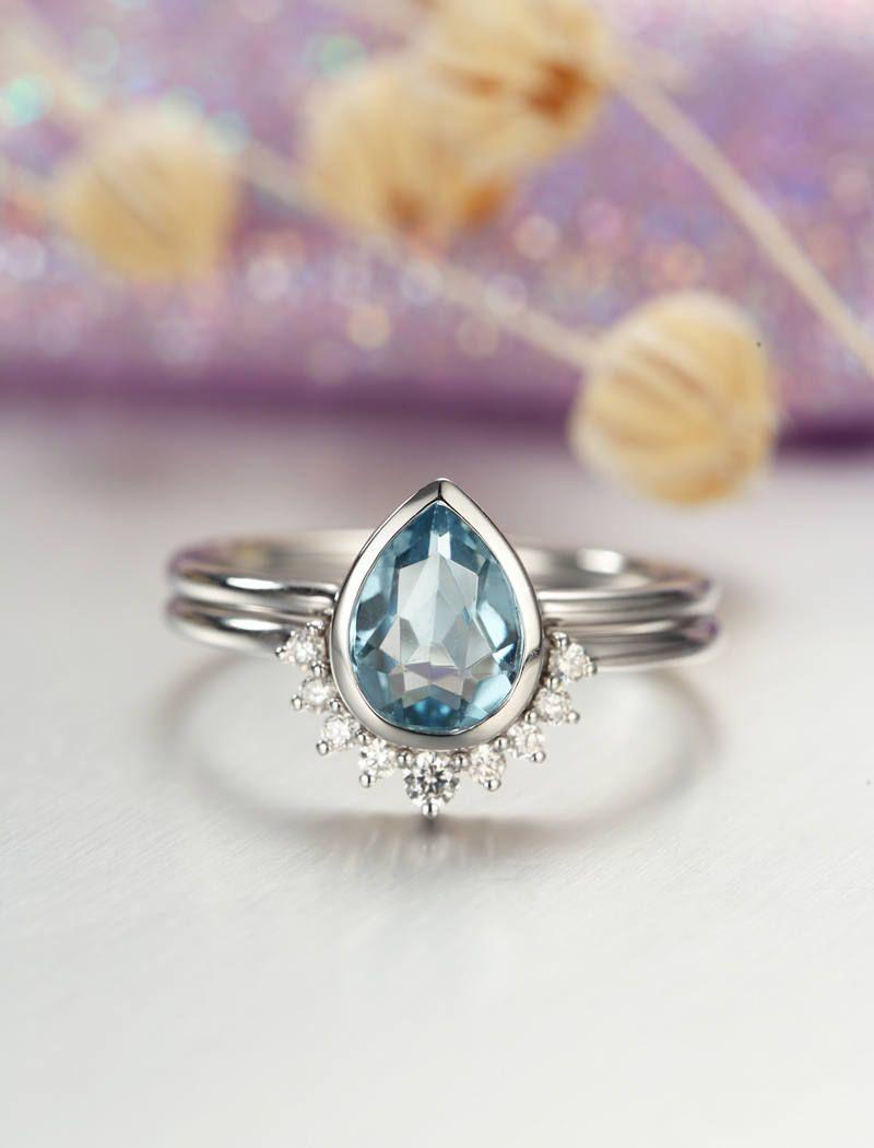 Aquamarine Engagement Ring white Gold Vintage Diamond Wedding