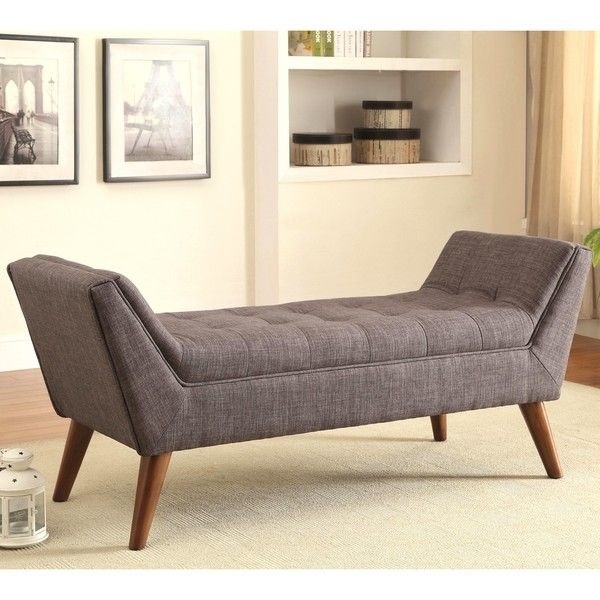 Magnolia Mid Century Design Tufted Grey Upholstered Accent Ottoman ...