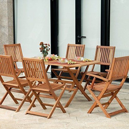 6 seater wooden set garden outdoor patio furniture folding chairs