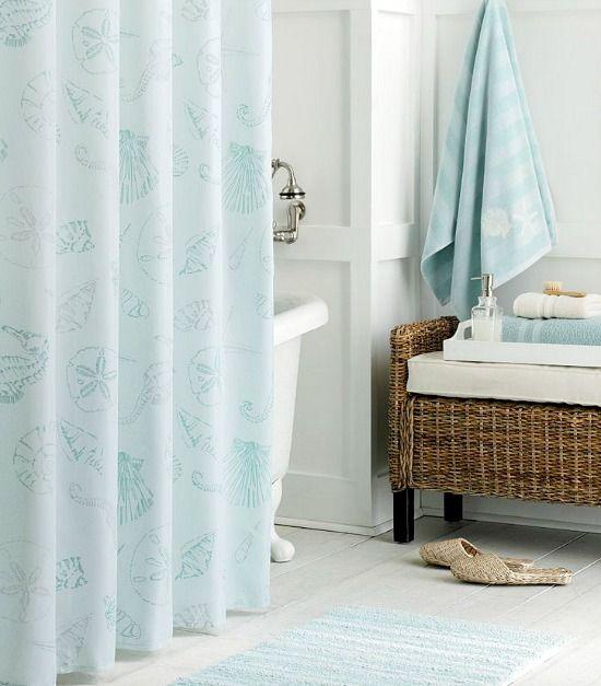 Aqua Pastel Sea Shell Shower Curtain Fabric Shower Curtains