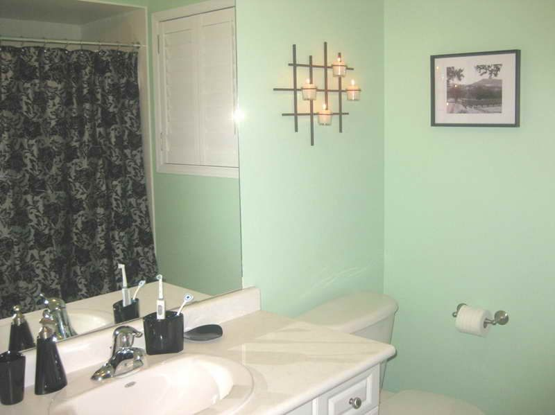 Warm Element Of The Mint Green Paint Color With Bathroom