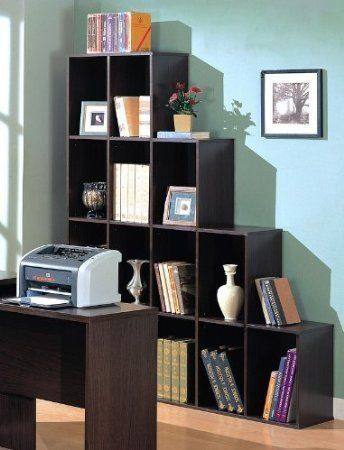 Contemporary Book Shelf Box Rectangle Cube Sleek Stair Step Mahogany Dark Brown Ebay Cube Bookcase Contemporary Bookcase Office Cube