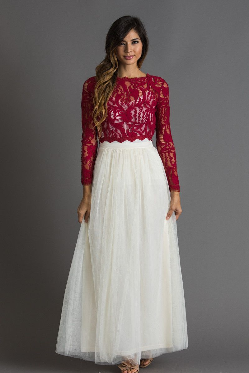 75e5d8e8066 Carrie Burgundy Lace Top in 2019
