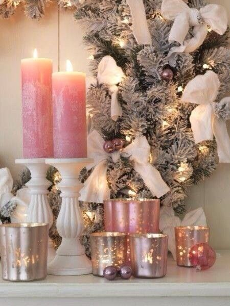 Christmas Winter Blessings Pink Christmas Decorations Shabby Christmas Romantic Christmas