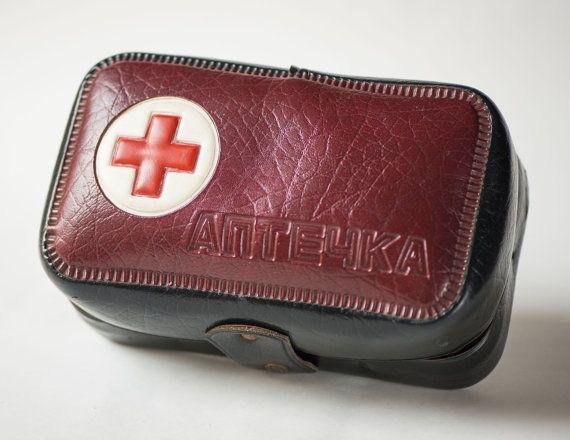 Russian First Aid Kit Box Vintage Ussr Medicine Pouch Brown First Aid Bag Fun Medicine Chest Pharmacy Bag 70s First Aid Kit Box Medicine Pouch First Aid Kit
