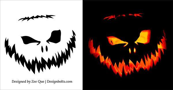 10 free scary halloween pumpkin carving patterns stencils ideas 2014 hallowen - Citrouille effrayante ...